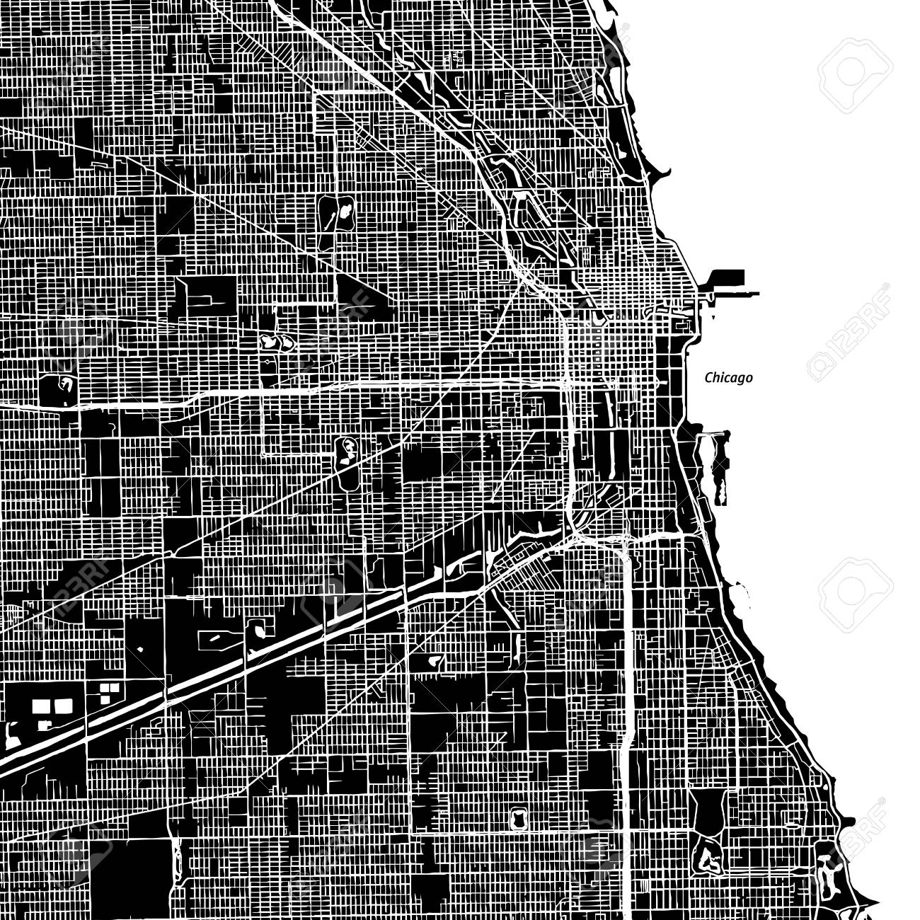 Chicago Illinois Downtown Vector Map City Name On A Separate