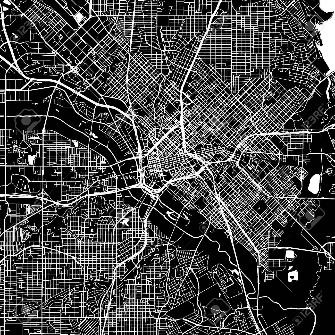 Dallas Texas Downtown Vector Map City Name On A Separate Layer