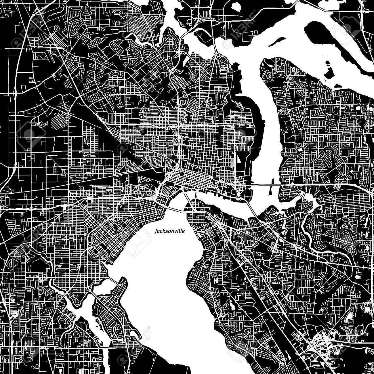 graphic relating to Printable Map of Jacksonville Fl identified as Jacksonville, Florida. Downtown vector map. Metropolis standing upon a independent..