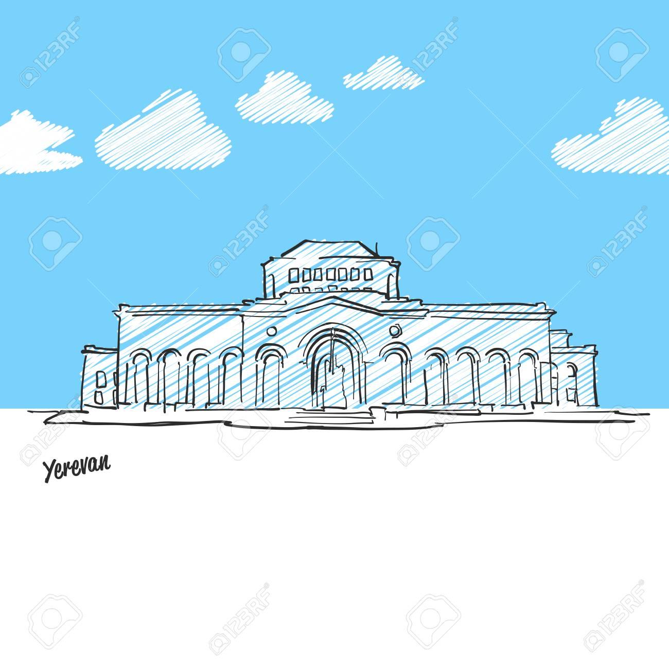 Eriwan Armenien Beruhmte Skyline Skizze Lineart Von Hand Zeichnen Grusskartenikone Mit Titel Vektorillustration Lizenzfrei Nutzbare Vektorgrafiken Clip Arts Illustrationen Image 88371605