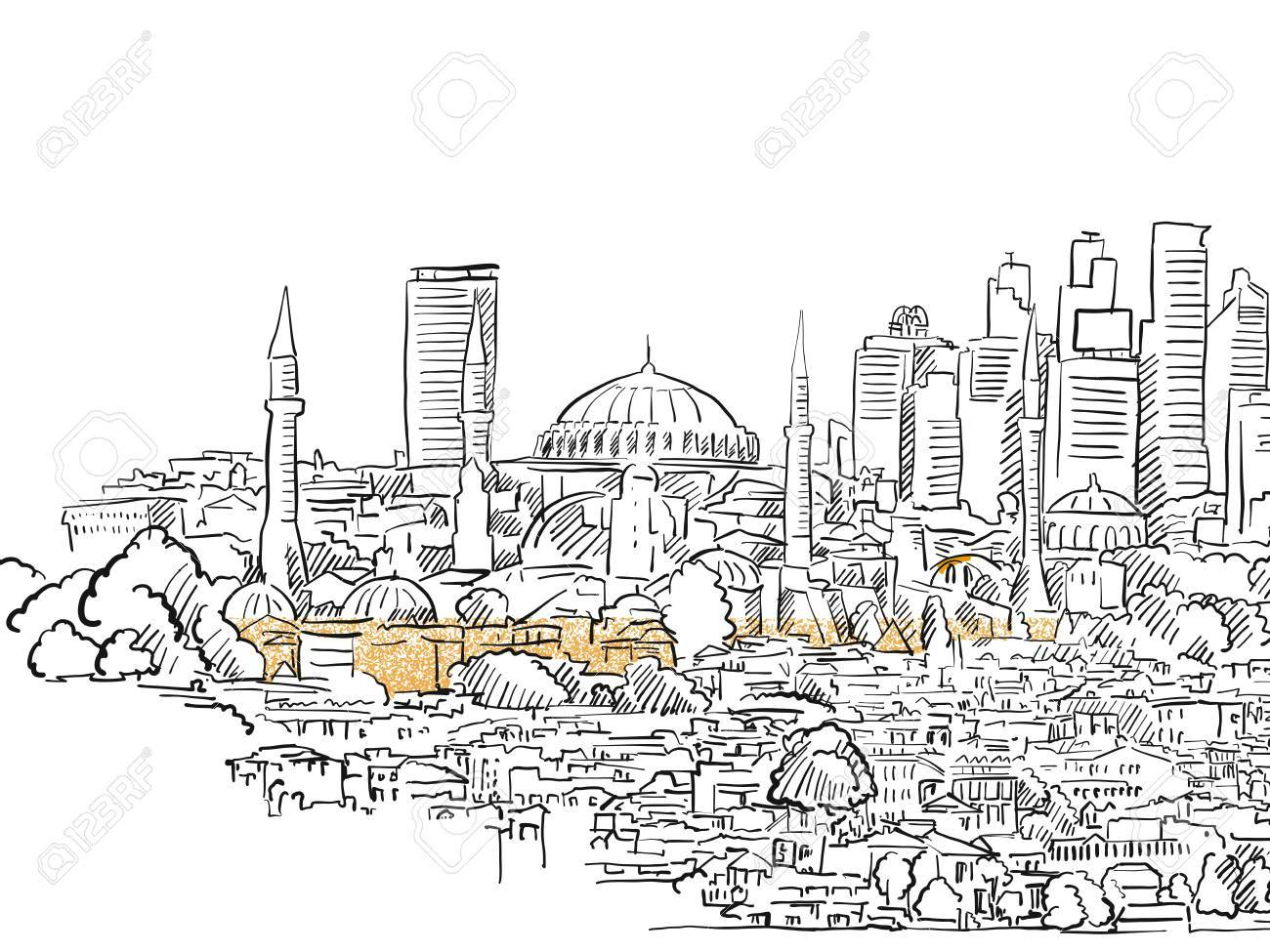 Modern And Old Istanbul Panorama Drawing Hand Drawn Historic
