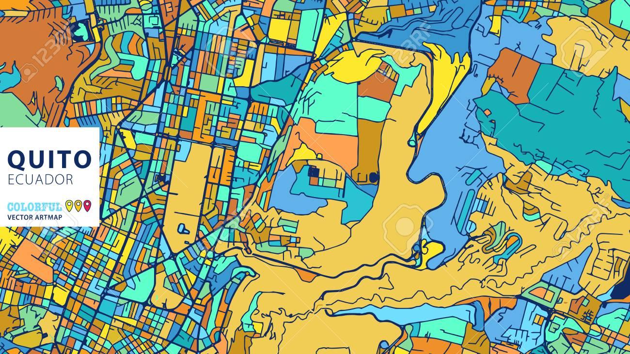 Quito, Ecuador, Colorful Vector Art Map. Blue Orange Yellow Version ...