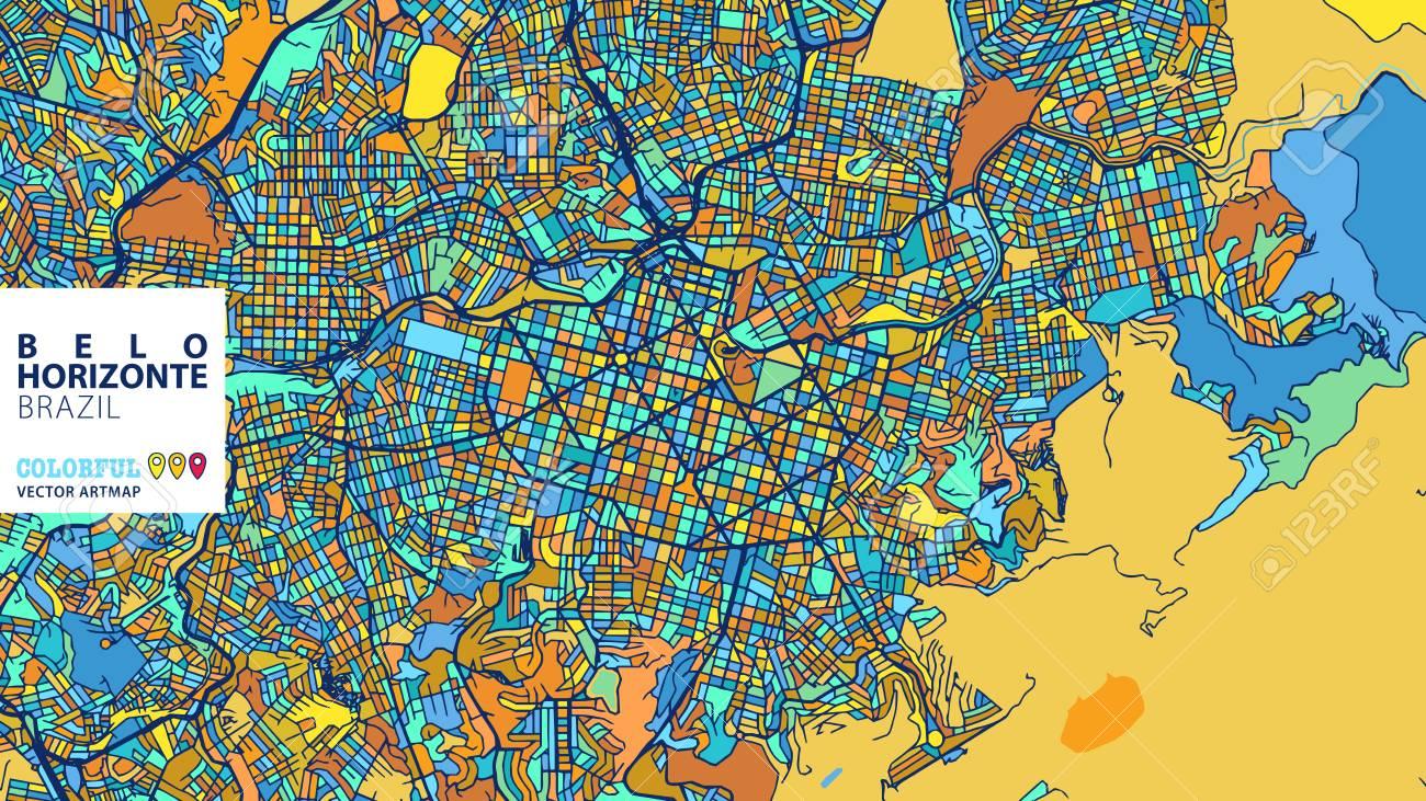Belo Horizonte Brazil Colorful Vector Art Map Blue Orange
