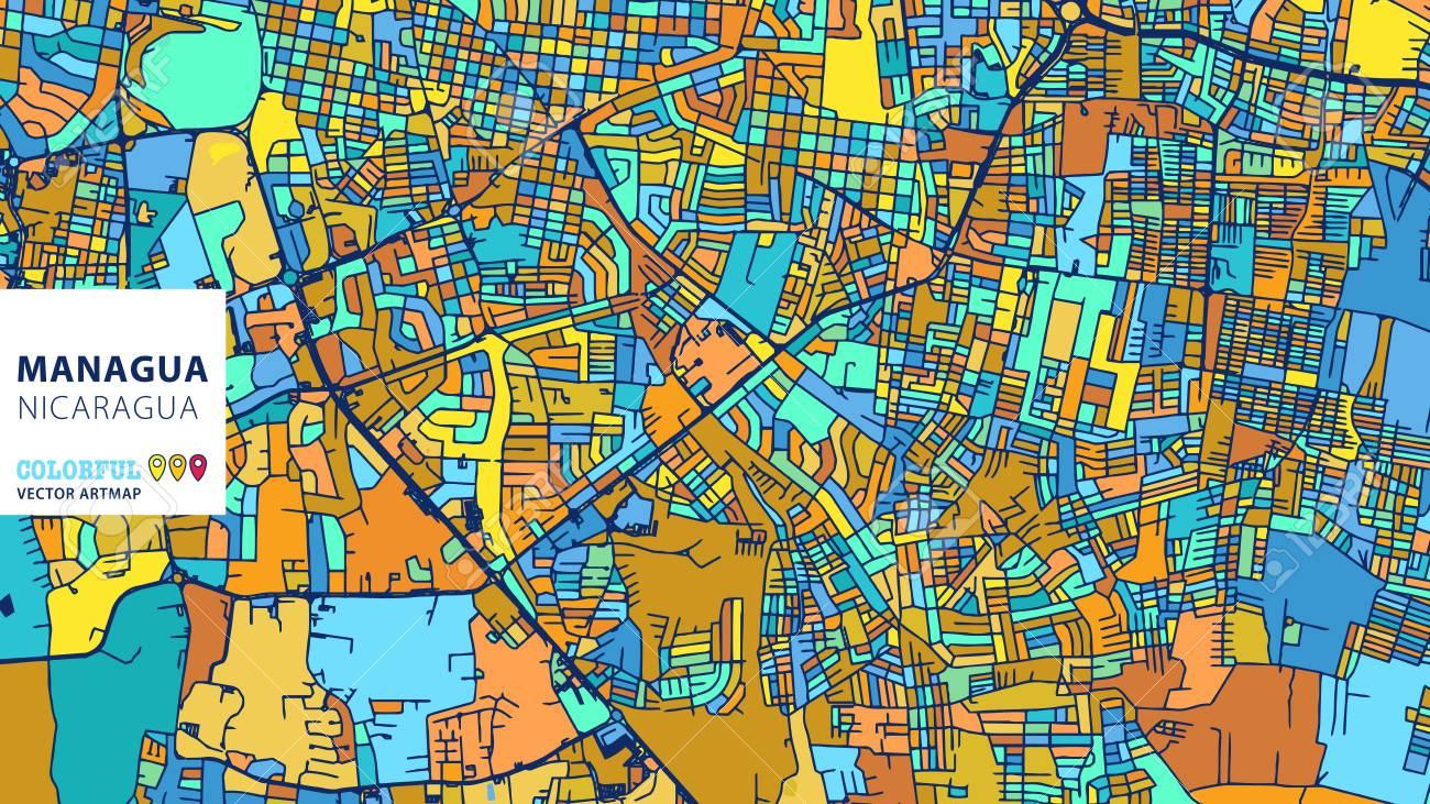 Managua, Nicaragua, Colorful Vector Art Map. Blue Orange Yellow ...
