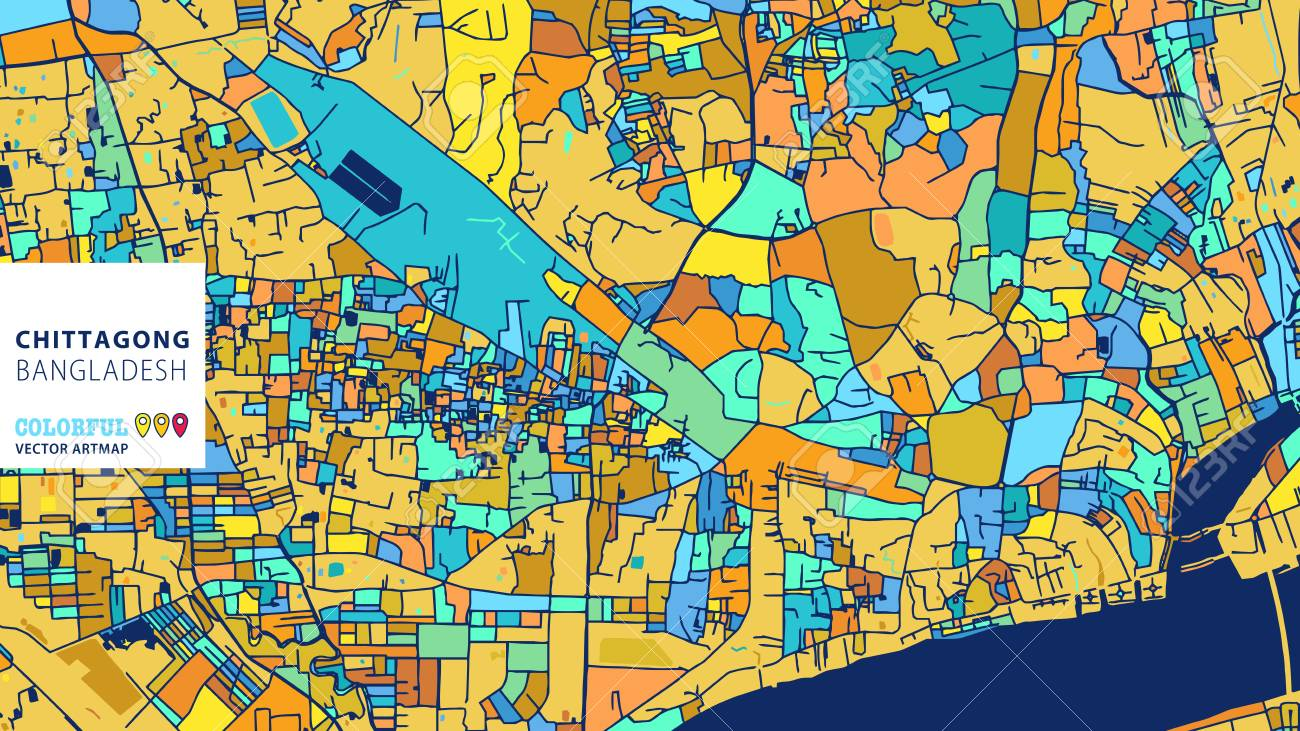 Chittagong, Bangladesh, Colorful Vector Art Map. Blue Orange ...