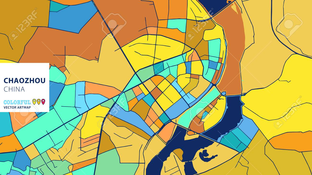 Chaozhou china colorful vector art map blue orange yellow chaozhou china colorful vector art map blue orange yellow version for website infographic gumiabroncs Images
