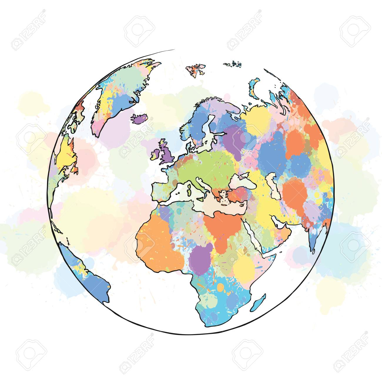 Colorful map europe globe hand drawn vector illustration paint colorful map europe globe hand drawn vector illustration paint splatter color isolated on white publicscrutiny Image collections