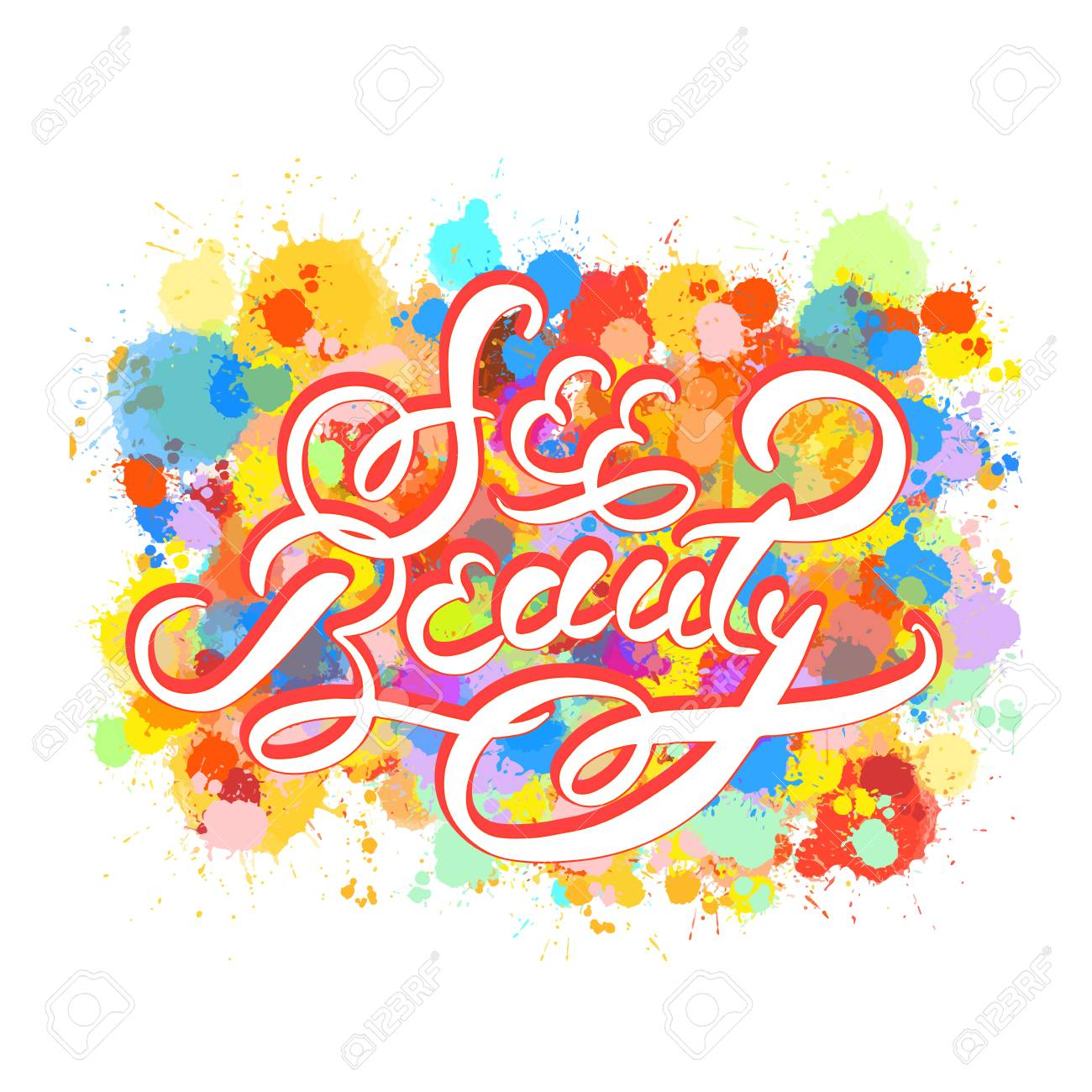 See Beauty Word Hand Lettering Vector Artwork Concept Ready