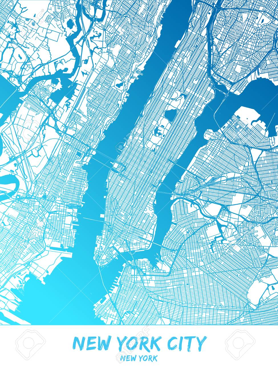 New York City Downtown And Surroundings Map In Blue Shaded Version Downtown New York Map on