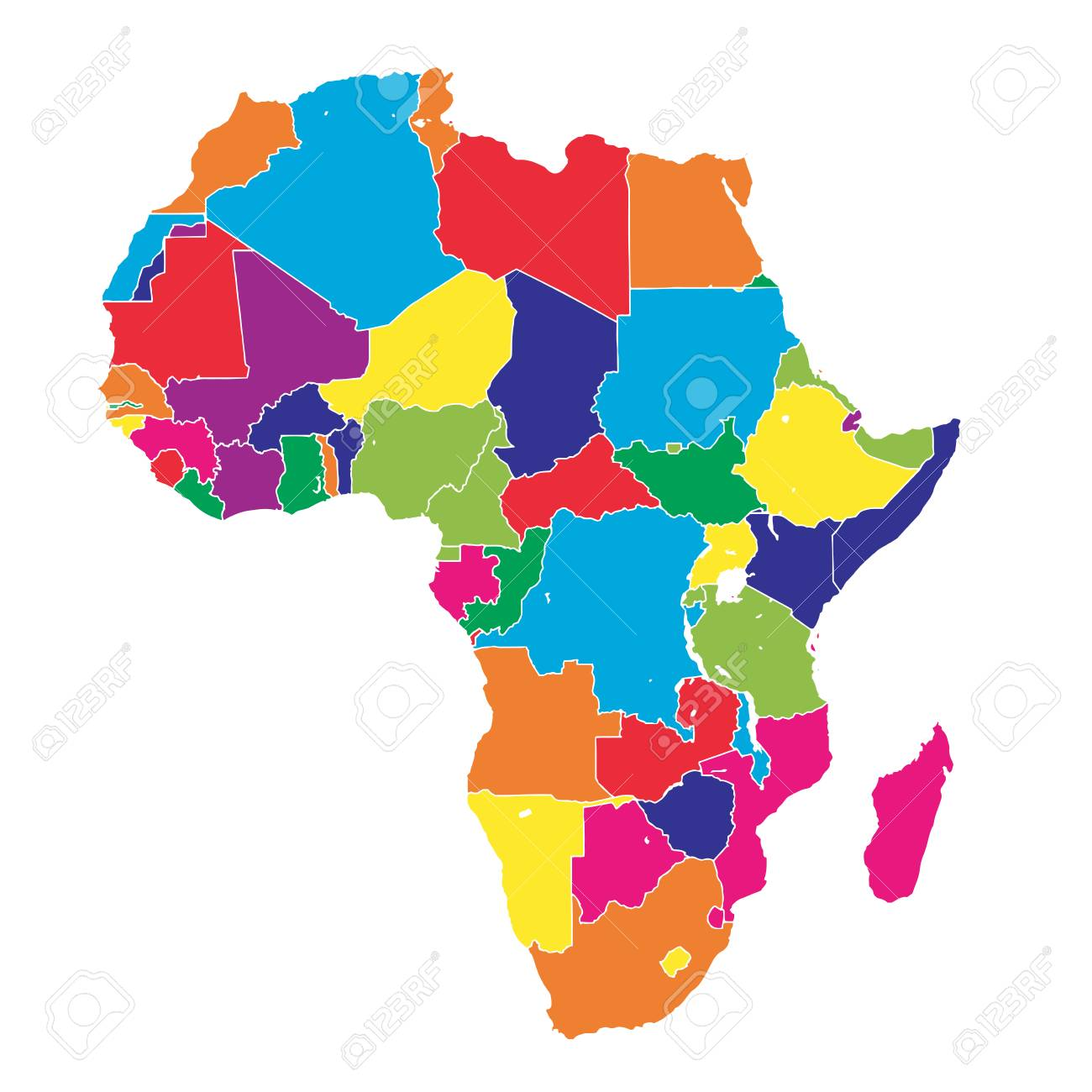 Colorful Map Of Africa.Africa Colorful Vector Map Political Version Usable For Travel