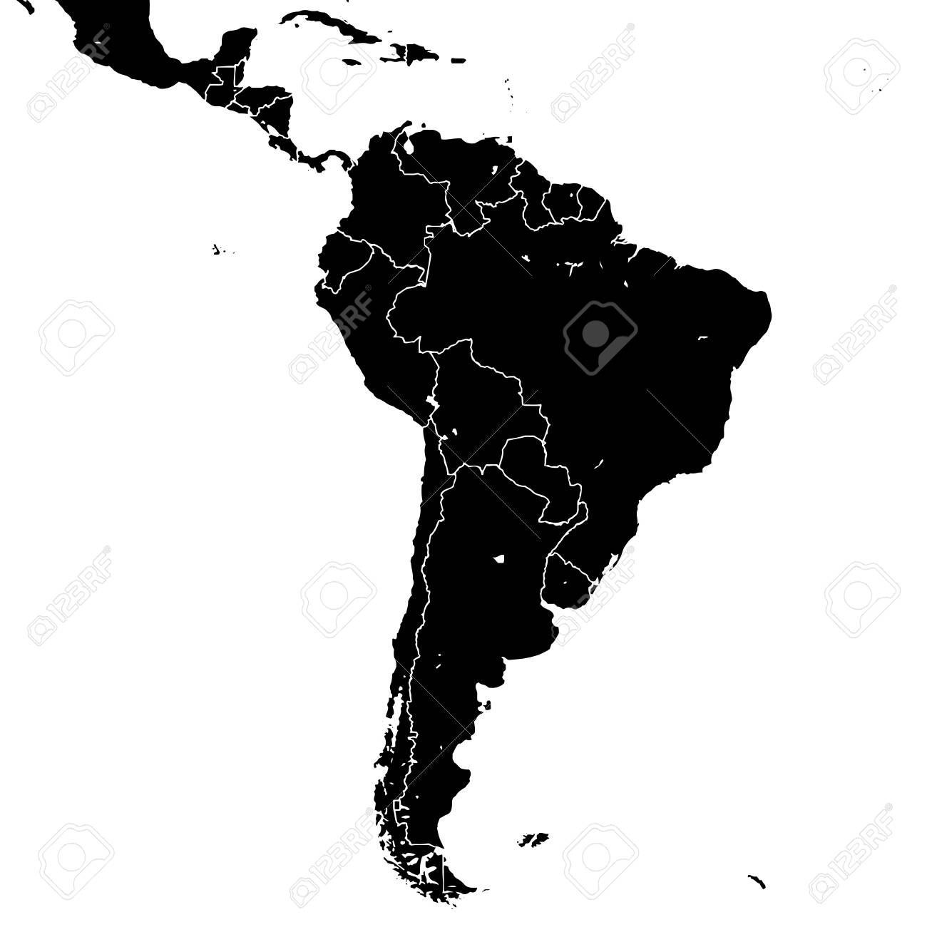 South America Silhouette Vector Map Black And White Version