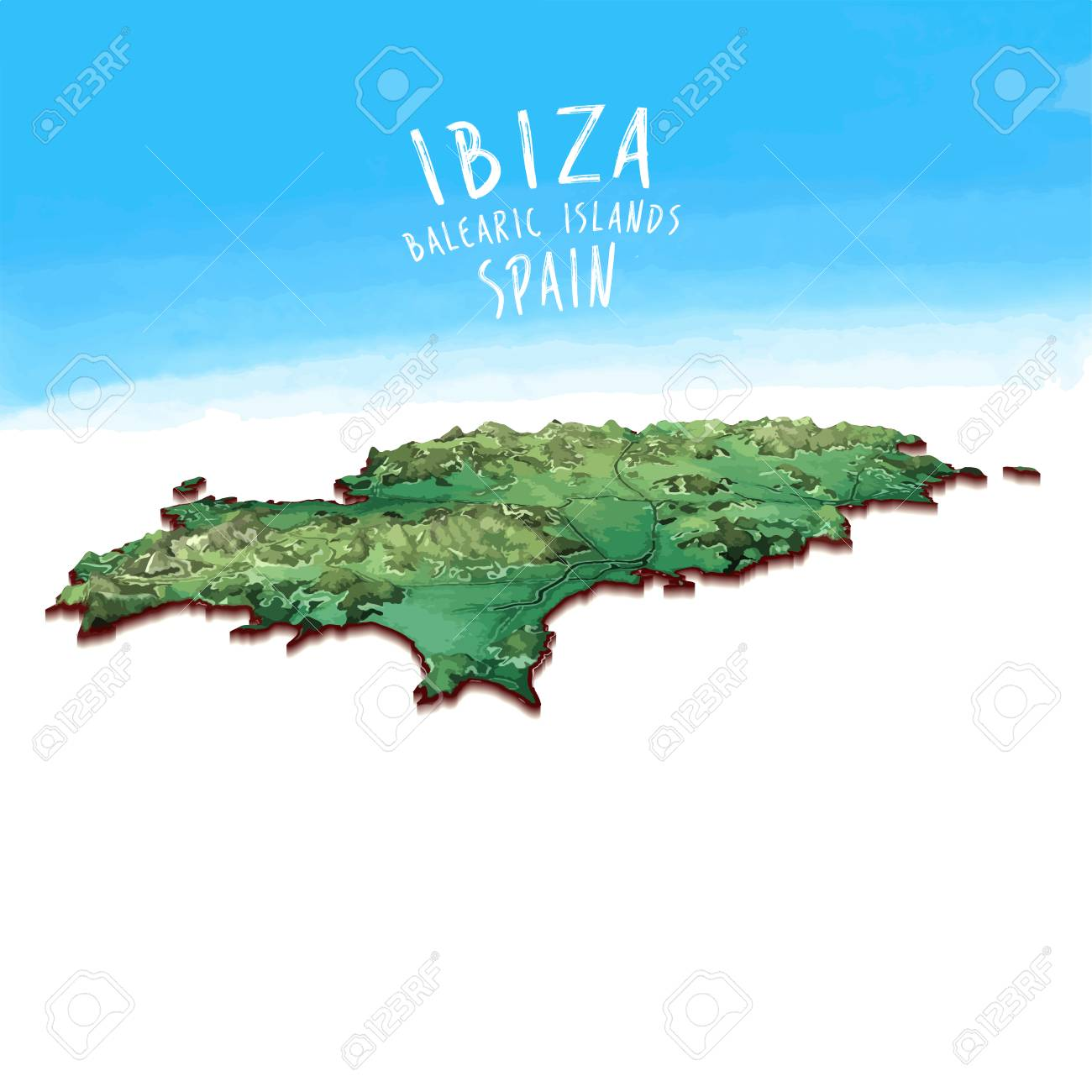 Ibiza On World Map.Modern Island Map Of Ibiza Spain Detailed Vector Illustration