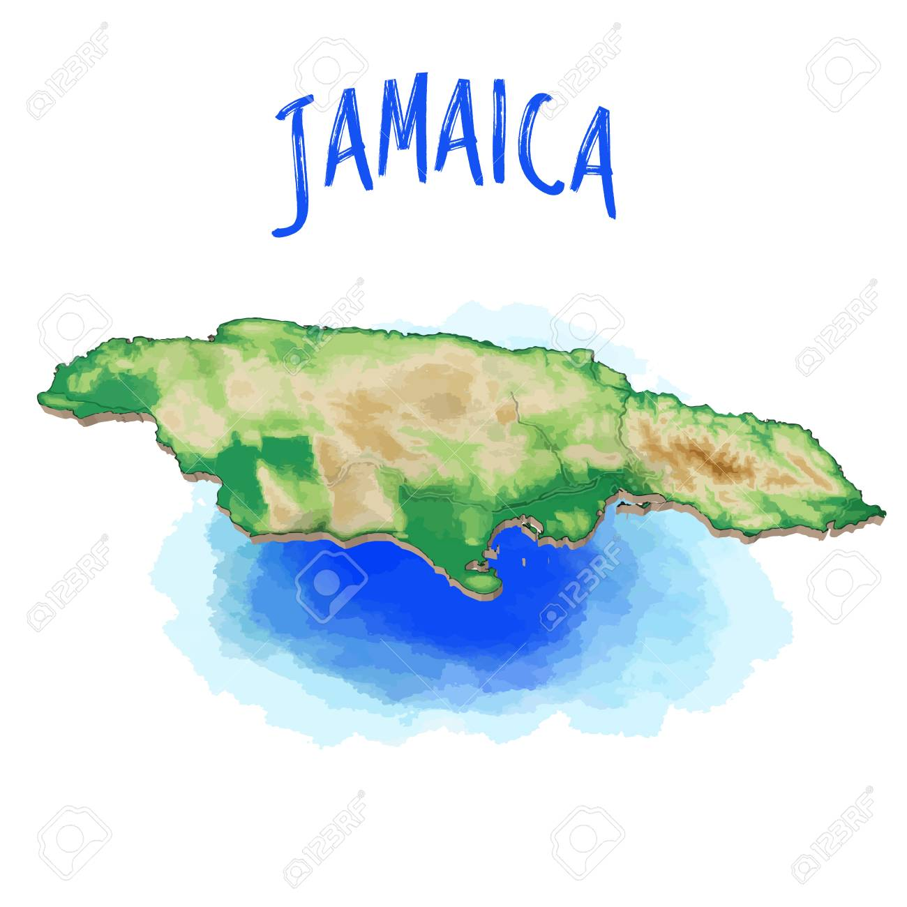 Caribbean Topographic Map.3d Map Of Jamaica Caribbean Vector Illustration Topographic