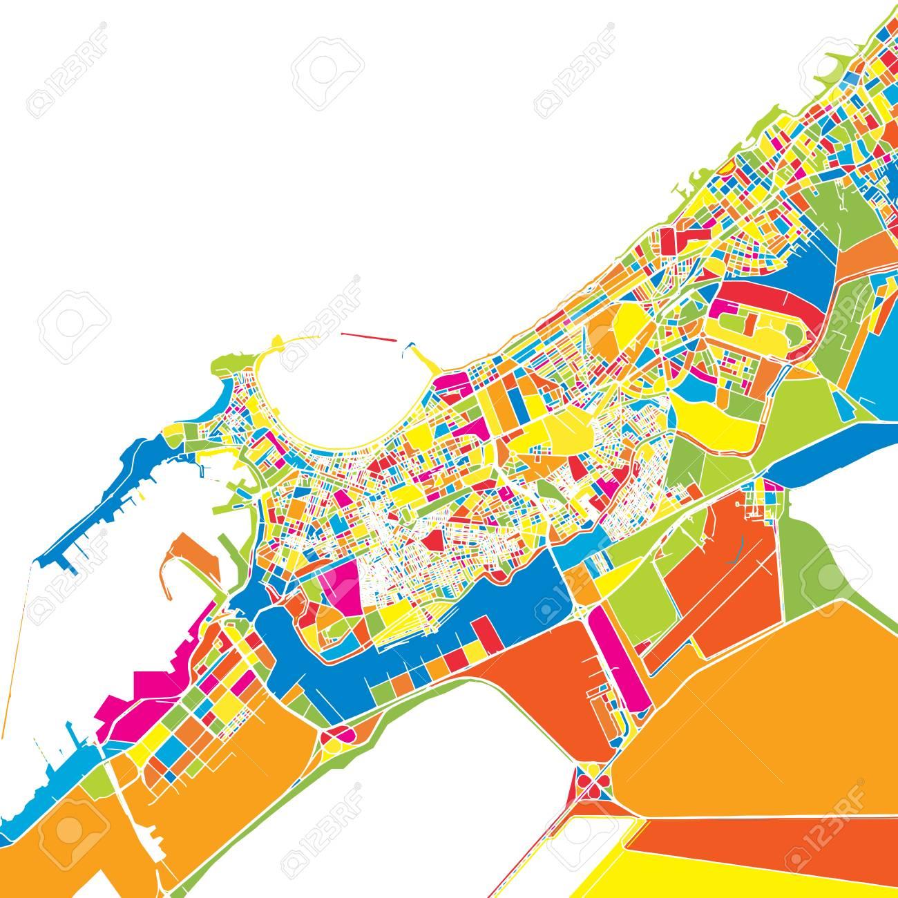Alexandria, Egypt, colorful vector map. White streets, railways..