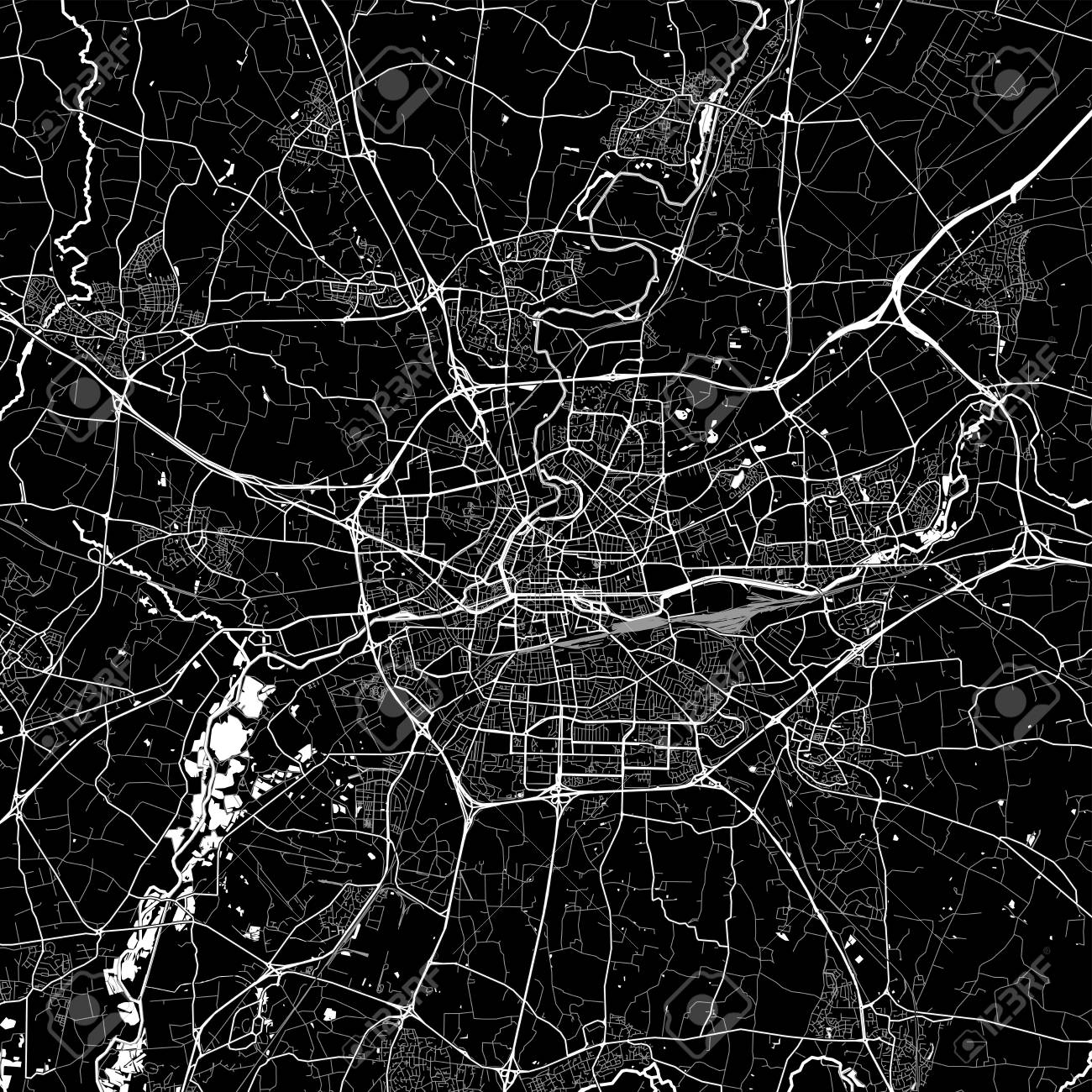 Area Map Of Rennes France Dark Background Version For Infographic
