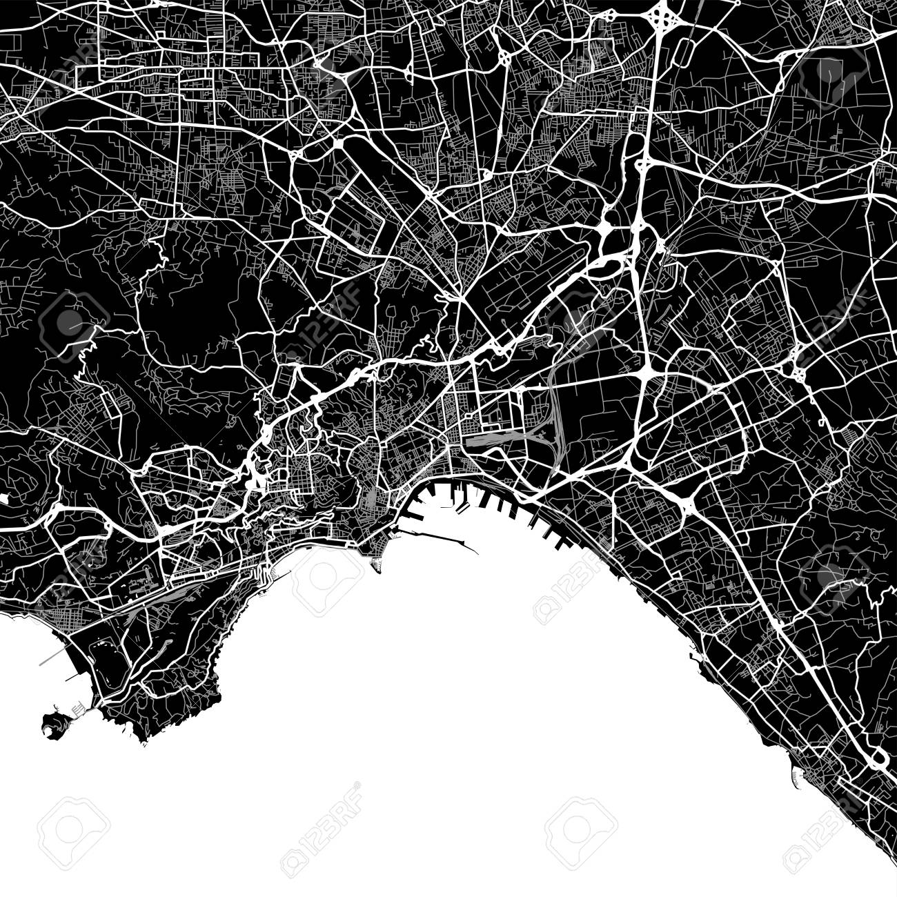 Area Map Of Naples, Italy. Dark Background Version For Infographic ...