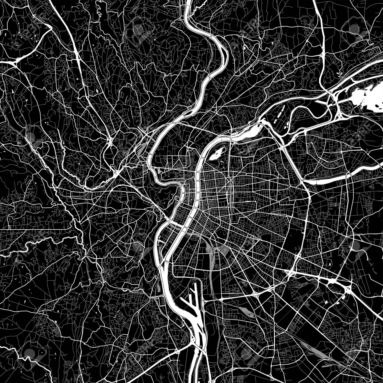 Area Map Of Lyon France Dark Background Version For Infographic