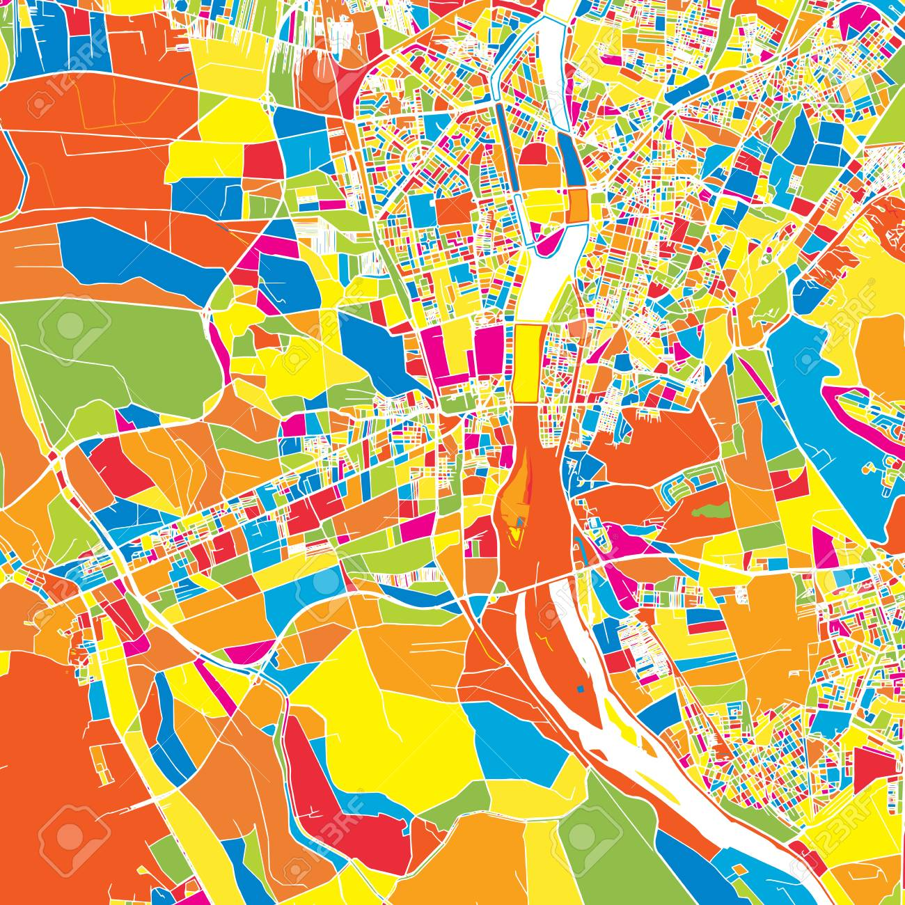 Giza Egypt Colorful Vector Map White Streets Railways And