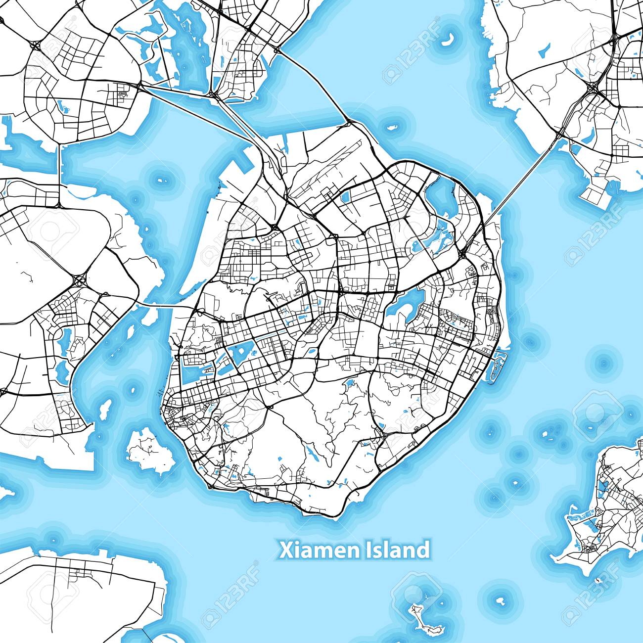 Map Of Xiamen Island China With The Largest Highways Roads