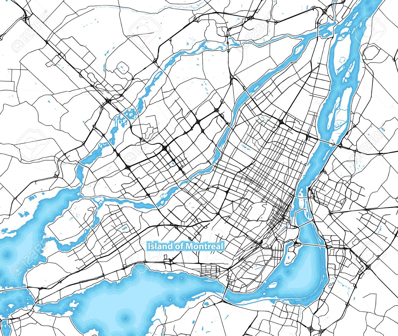 Map Of Canada Roads.Map Of The Island Of Montreal Canada With The Largest Highways