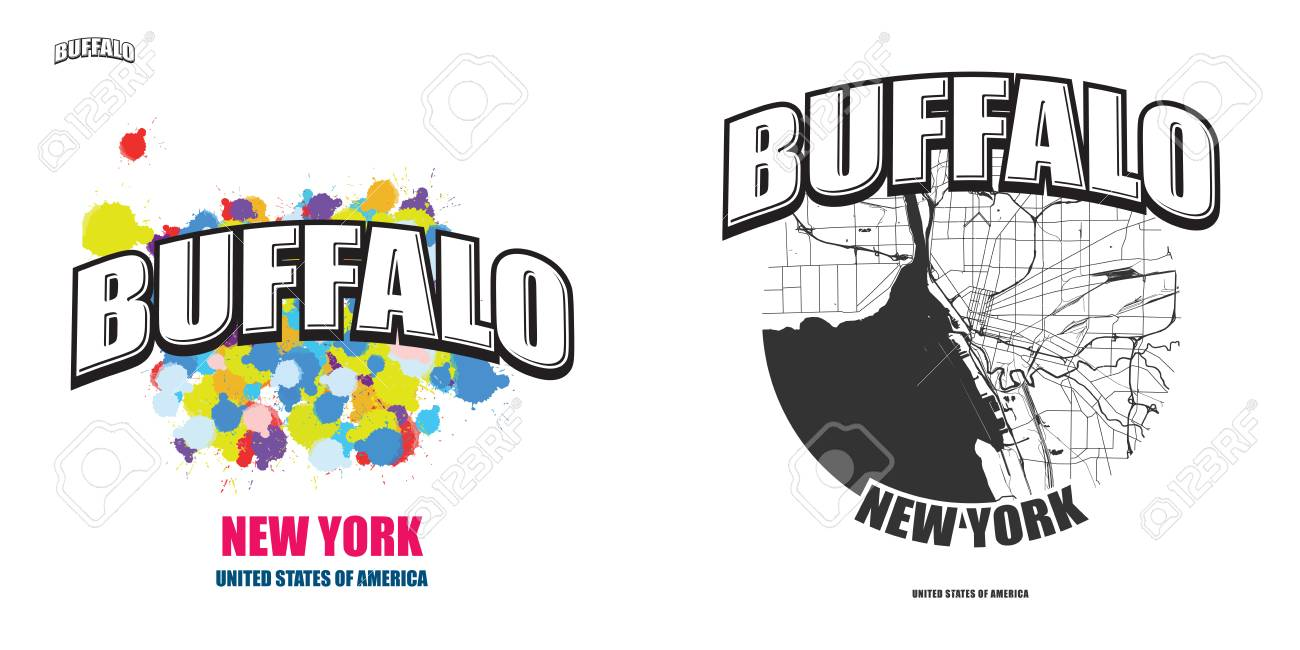 Buffalo New York Logo Design Two In One Vector Arts Big Logo