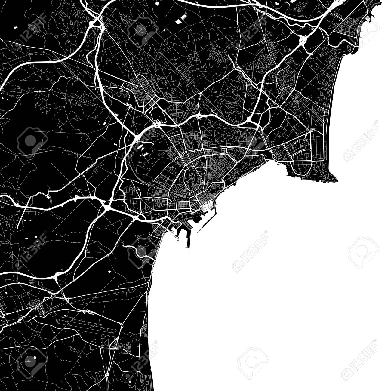 Map Of Spain Alicante Area.Area Map Of Alicante Spain Dark Background Version For Infographic