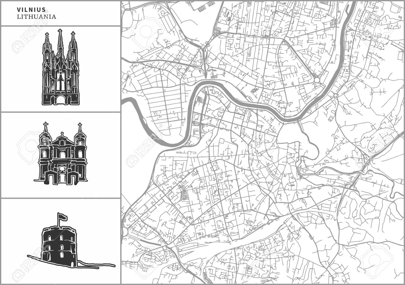 Vilnius city map with hand-drawn architecture icons. All drawigns, map and background separated for easy color change. Easy repositioning in vector version. - 105690644