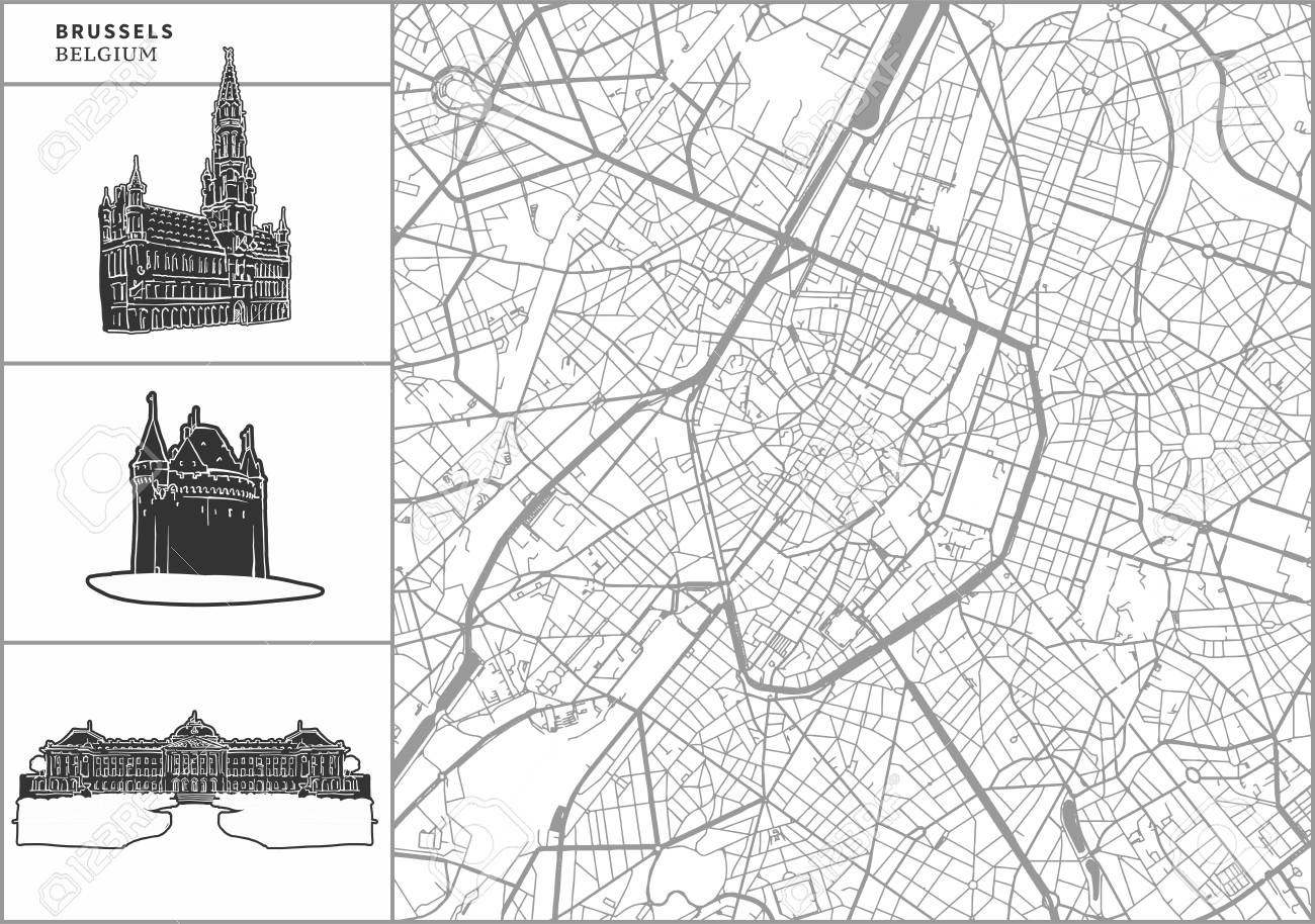 Brussels city map with hand-drawn architecture icons. All drawigns,..