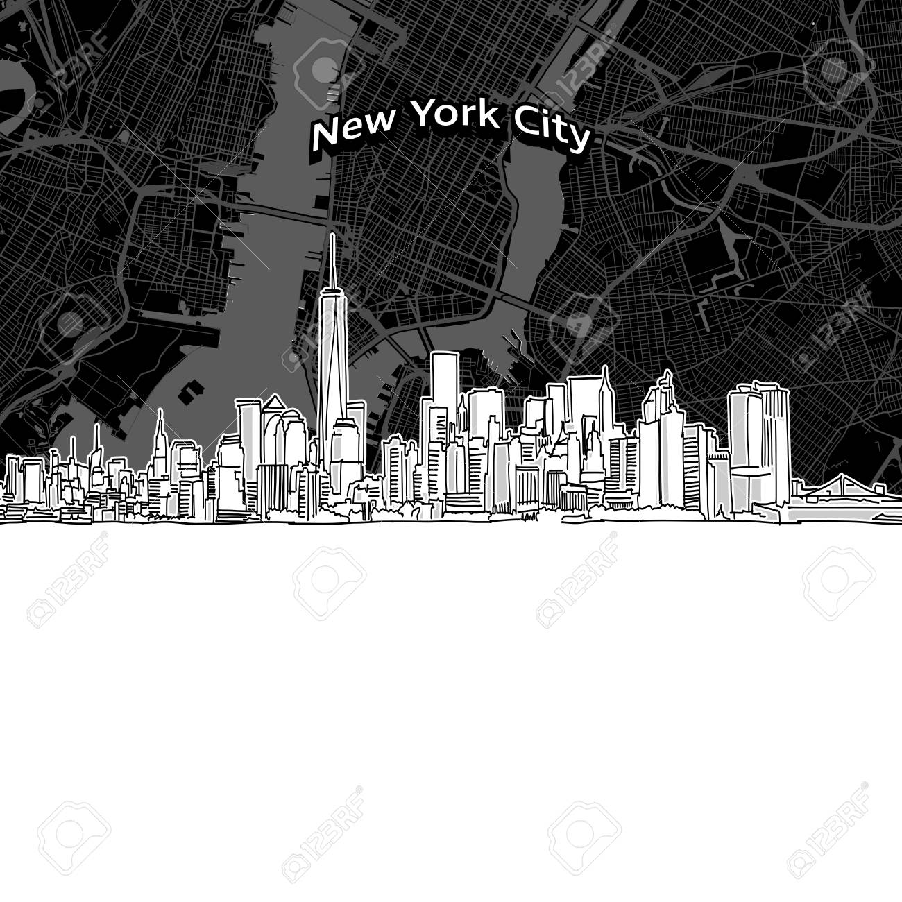 Vector Drawing Of New York City Skyline With Map. USA Travel ...