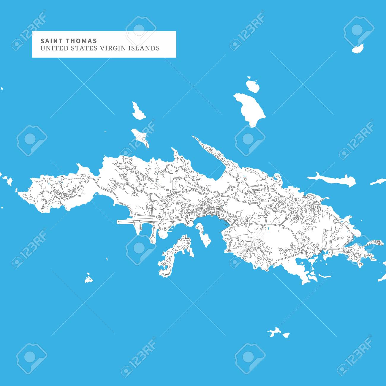 Map Of Saint Thomas Island, United States Virgin Islands, Contains ...