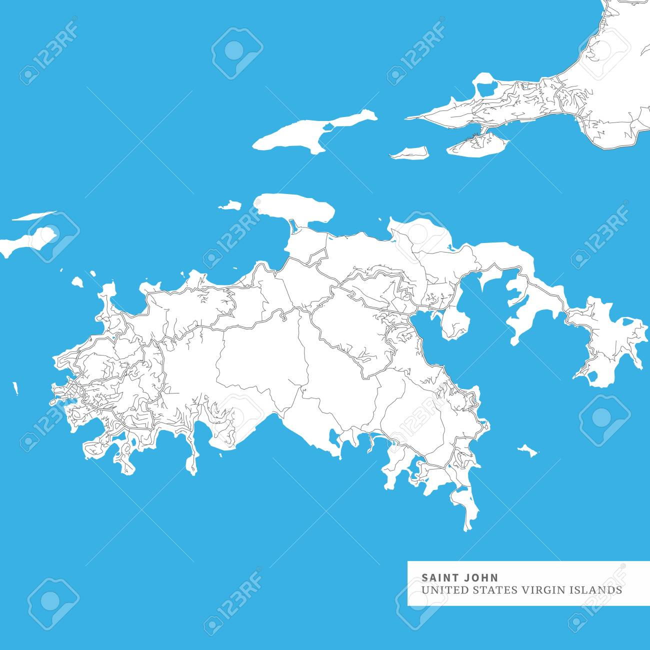 Map of Saint John Island, United States Virgin Islands, contains..