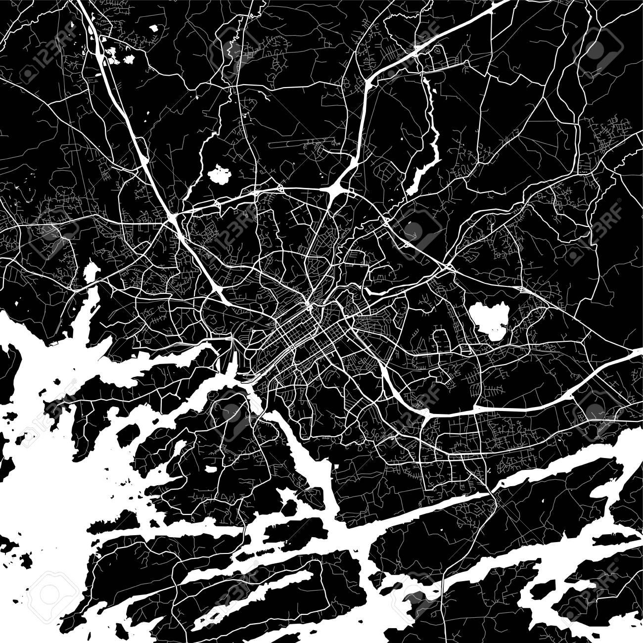 Turku map black and white