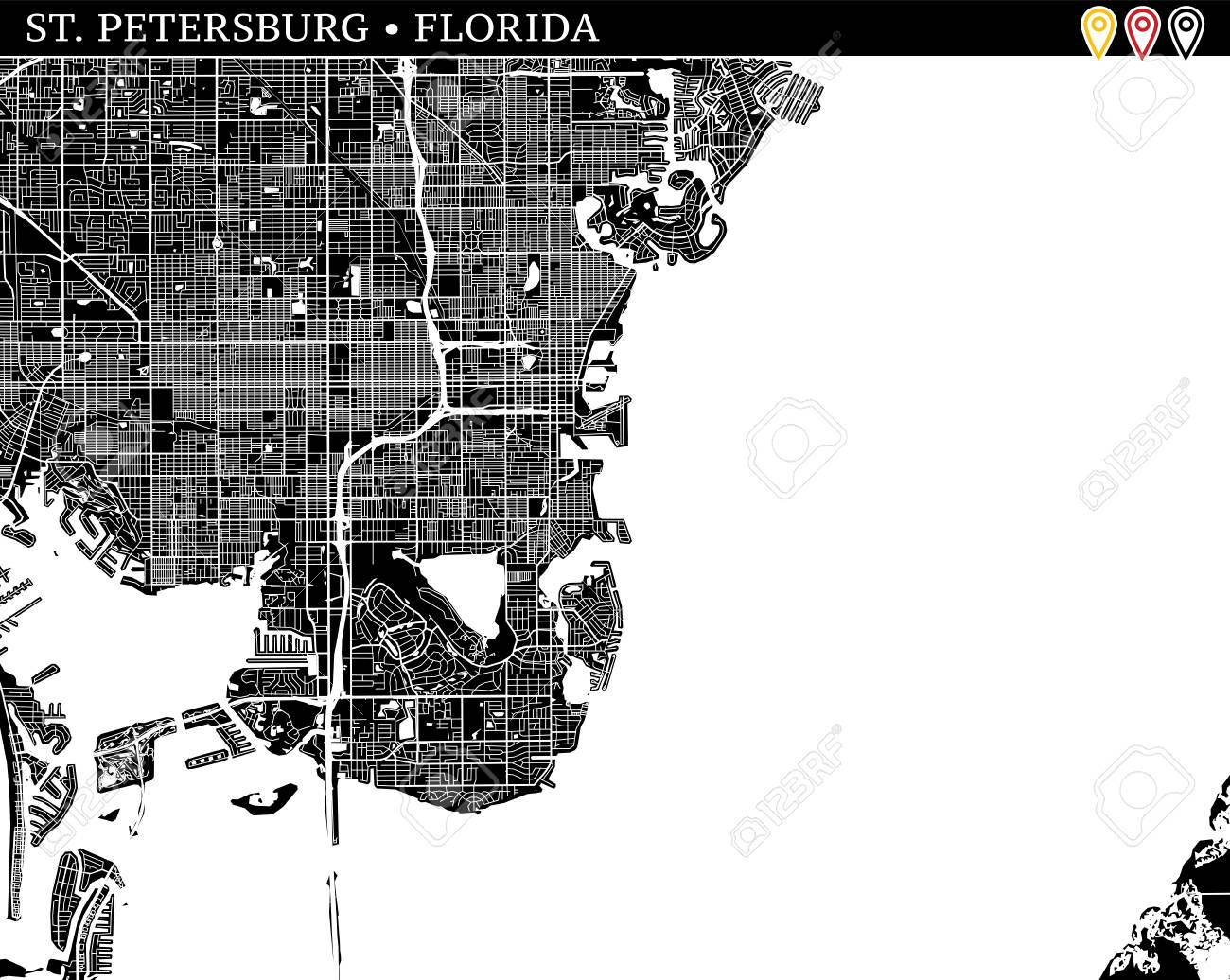 Simple Map Of St Petersburg Florida Usa Black And White Version
