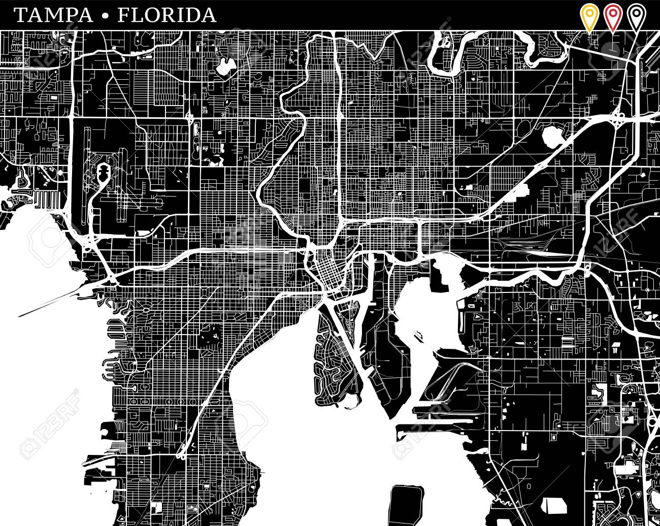 Tampa Florida Usa Map.Simple Map Of Tampa Florida Usa Black And White Version For Clean