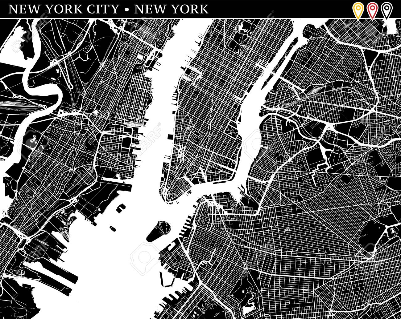 Simple Map Of New York City, New York, USA. Black And White Version ...
