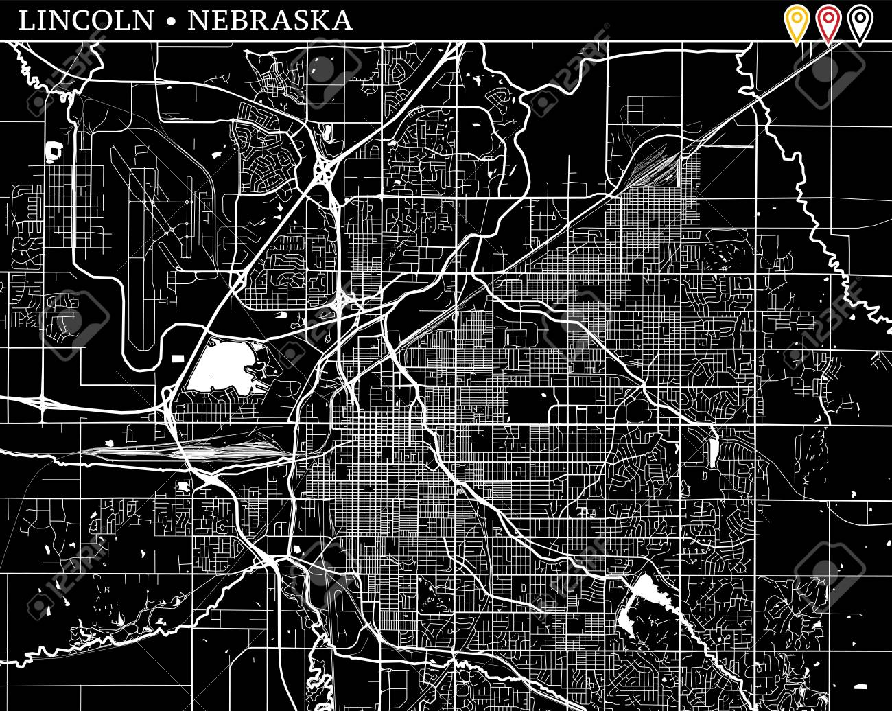 Simple map of Lincoln, Nebraska, USA. Black and white version for clean backgrounds and prints. This map of Lincoln contains three markers who are grouped and can be moved separetly in vector version. - 109847329