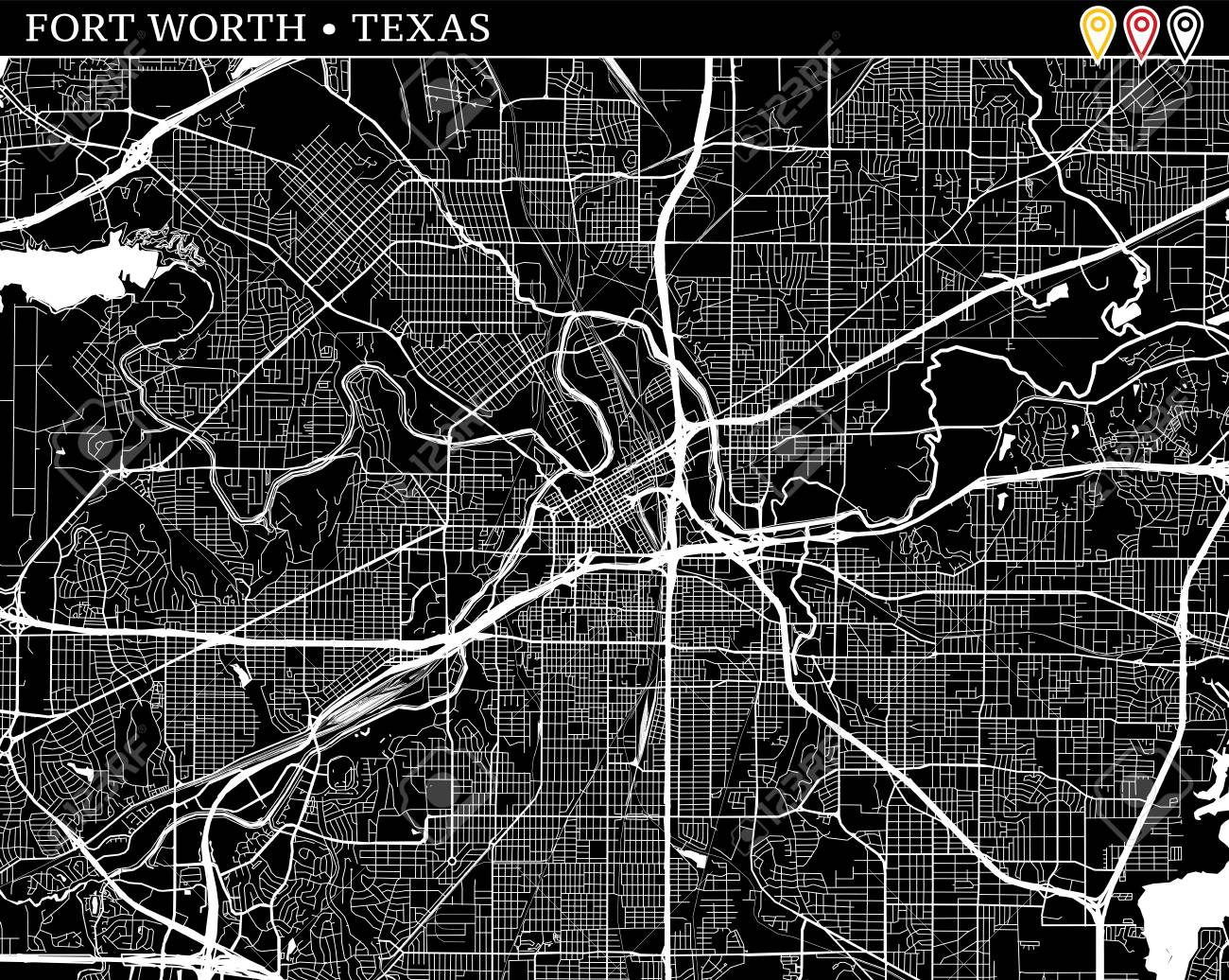 Simple map of Fort Worth, Texas, USA. Black and white version..