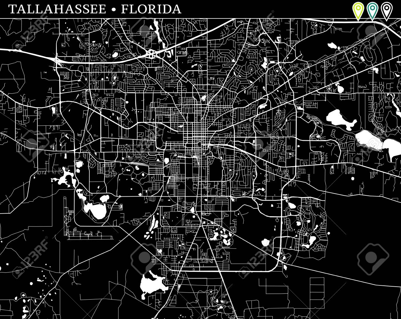 Map Of Tallahasse Florida Simple Map Of Tallahassee, Florida, USA. Black And White Version
