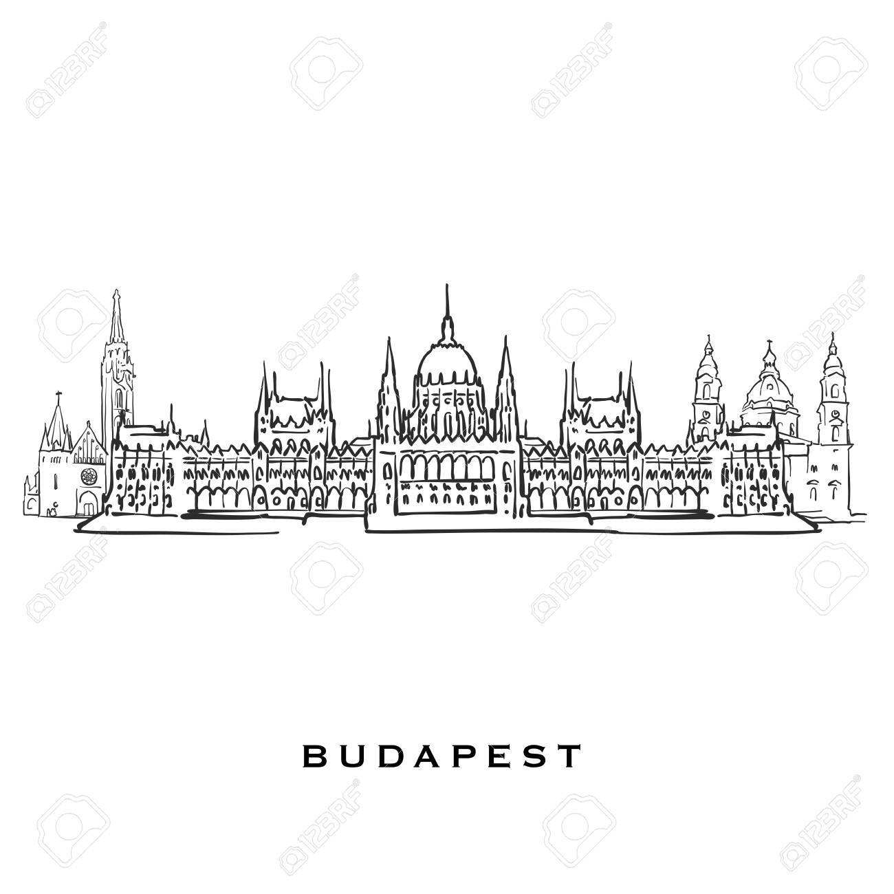 Budapest Hungary famous architecture  Outlined vector sketch