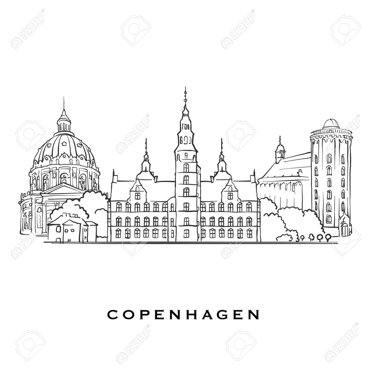 Copenhagen Denmark famous architecture  Outlined vector sketch