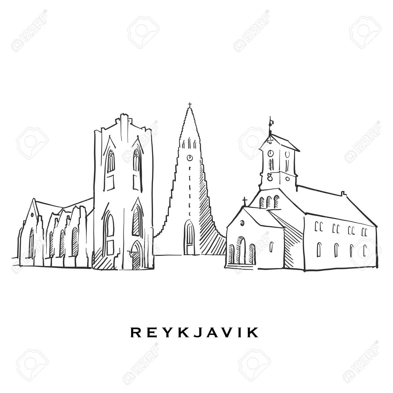 Reykjavik Iceland famous architecture  Outlined vector sketch