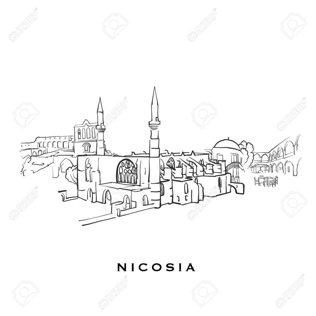 Nicosia Cyprus famous architecture  Outlined vector sketch separated