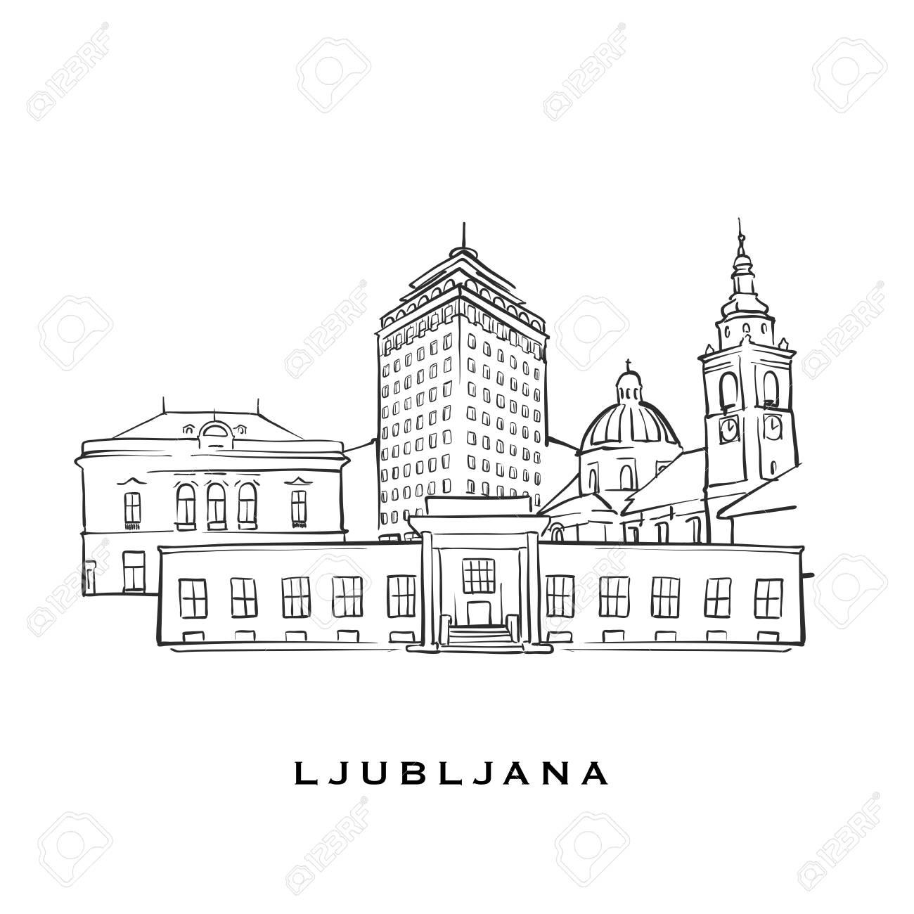 Ljubljana Slovenia famous architecture  Outlined vector sketch