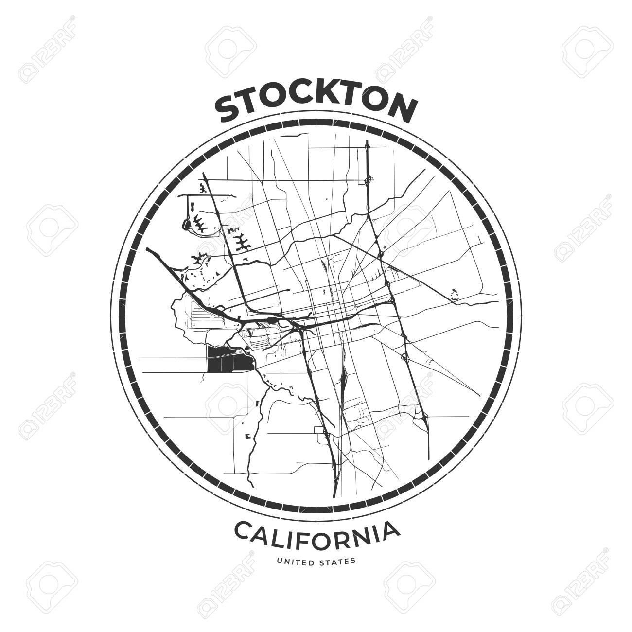 T-shirt map badge of Stockton, California. Tee shirt print typography..