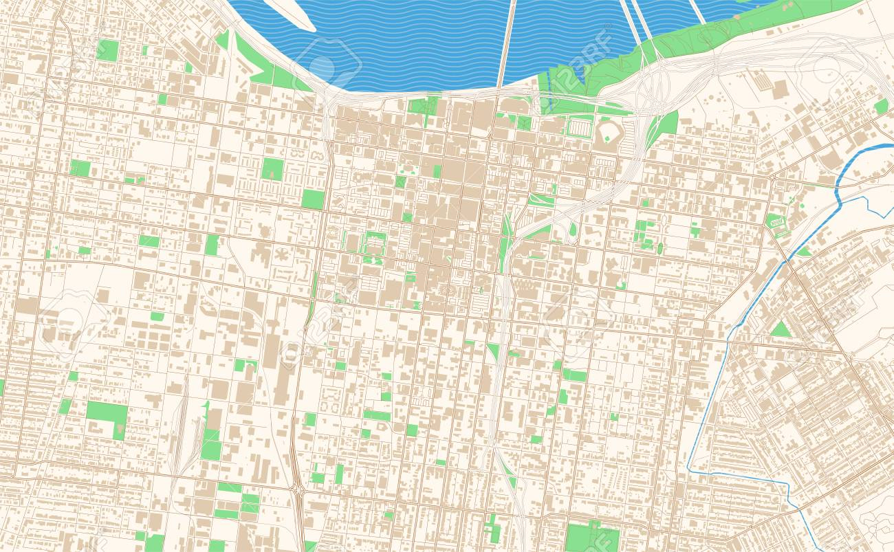 image about Printable Map of Kentucky named Louisville Kentucky printable map excerpt. This vector streetmap..
