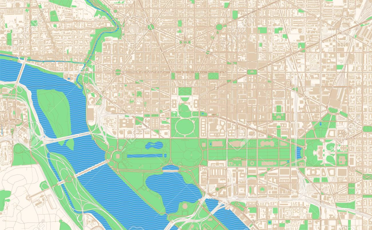 graphic about Printable Street Map of Washington Dc known as Washington D.C. printable map excerpt. This vector streetmap..