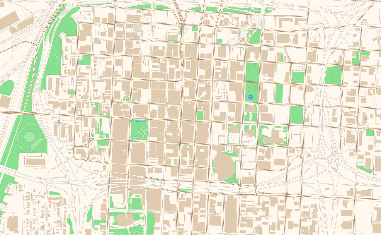 Kansas City Missouri printable map excerpt. This vector streetmap..