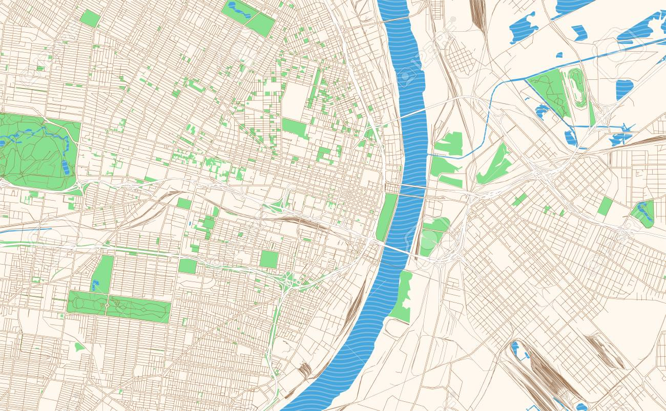 St. Louis Missouri printable map excerpt. This vector streetmap..