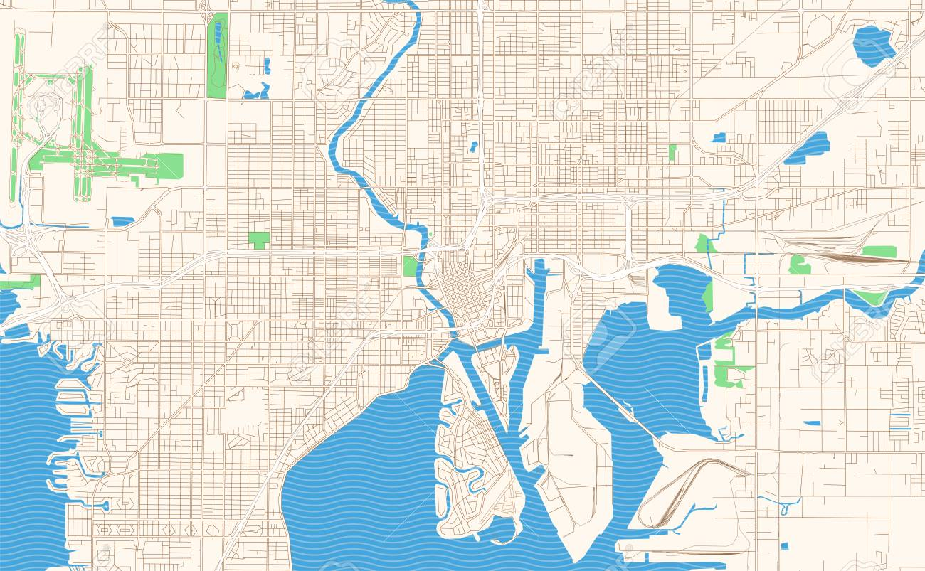 Tampa Florida printable map excerpt. This vector streetmap of..