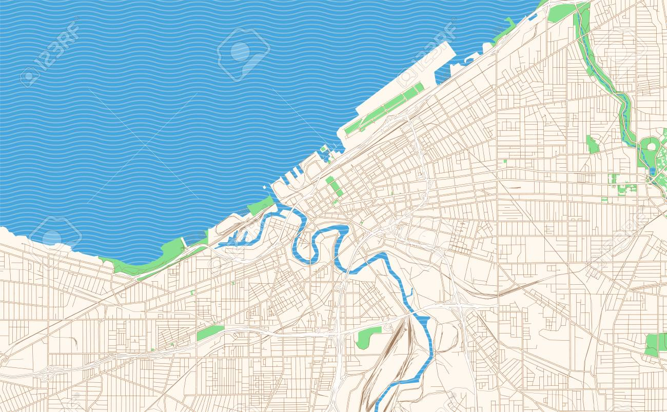 Cleveland Ohio printable map excerpt. This vector streetmap of..